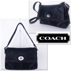 Coach Hamptons Pebble Leather Buckle Flap Satchel